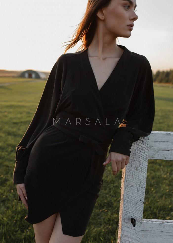Elegancka sukienka na zakładkę w kolorze spranej czerni - SENTIMA BY MARSALA