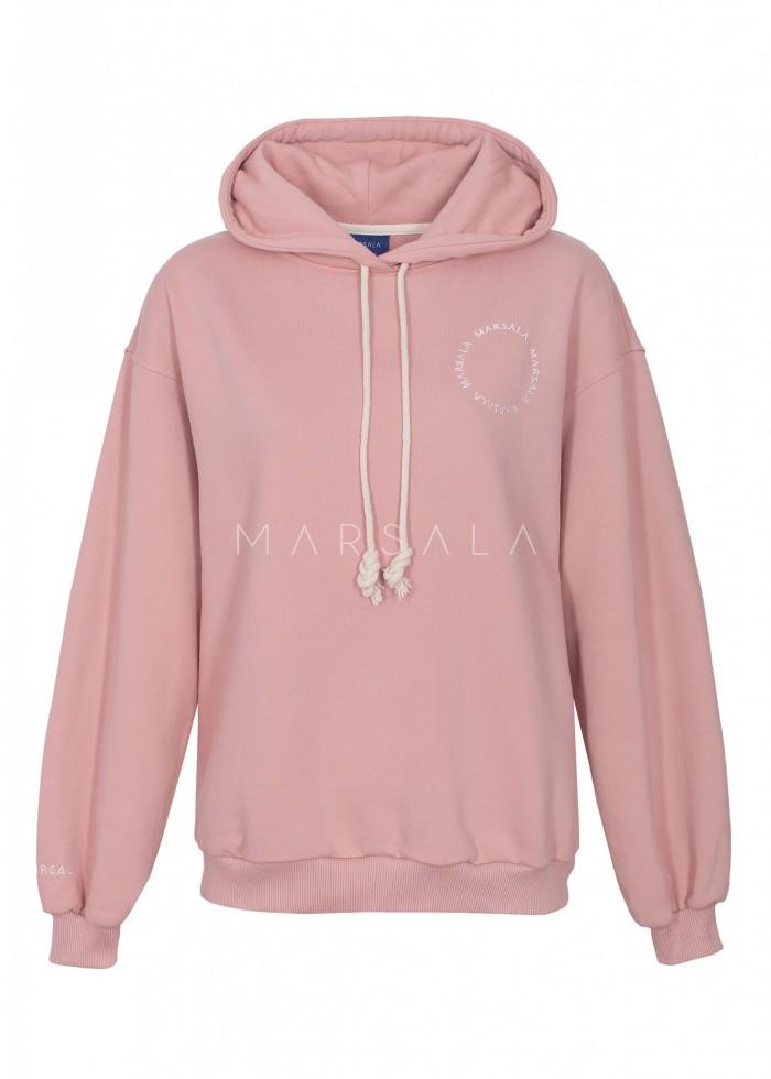 Bluza damska z kapturem i logo w kolorze DUSTY PINK - CHILLIN BY MARSALA