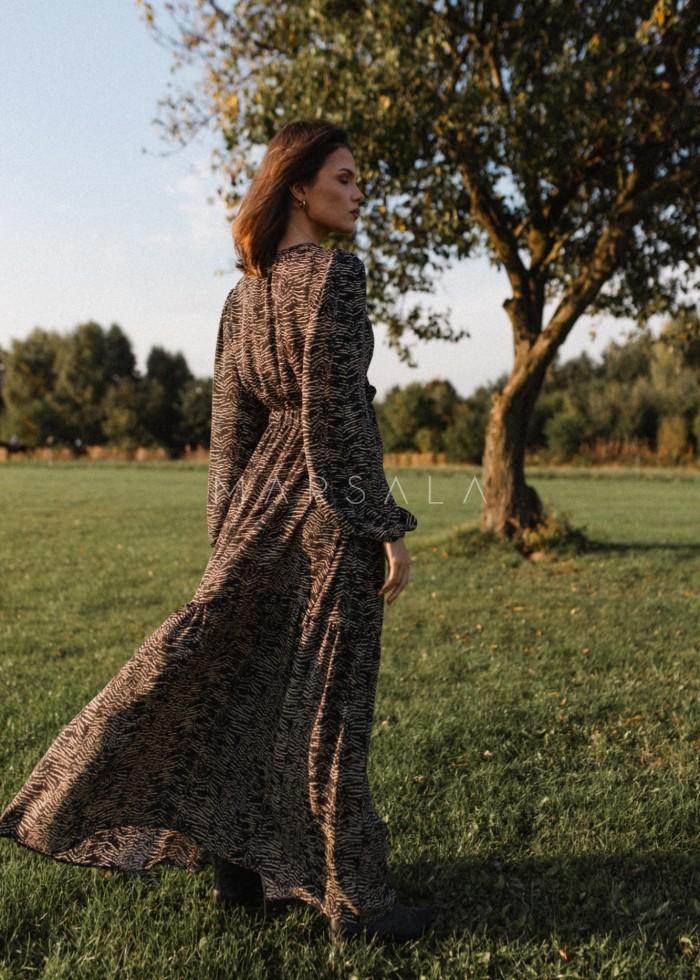 Zwiewna sukienka maxi czarna z finezyjnym printem - CAMBRA PRINT BY MARSALA