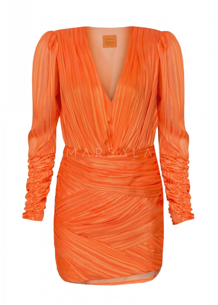 Drapowana sukienka z szyfonu pomarańczowa - EMPIRE BY MARSALA