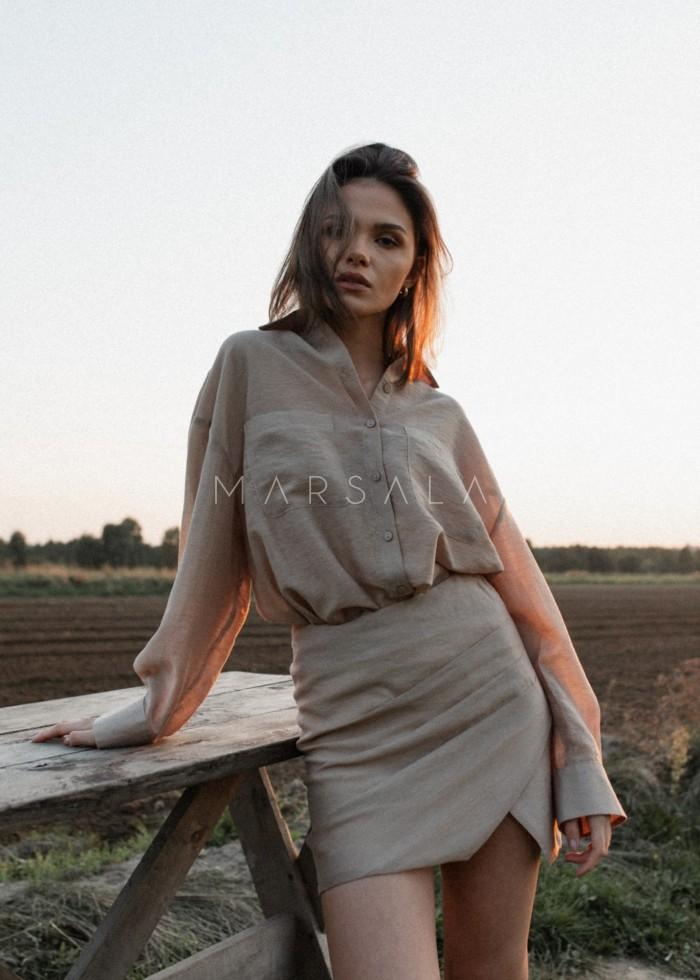 Krótka koszula typu oversize w kolorze beżowym - BLAIR BEIGE BY MARSALA