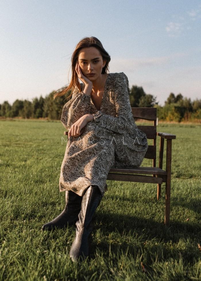 Zwiewna sukienka maxi ecru z printem w cętki khaki - CAMBRA PRINT BY MARSALA