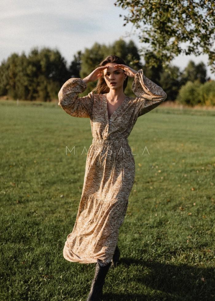 Zwiewna sukienka maxi beżowa z printem w brązowe cętki - CAMBRA PRINT BY MARSALA