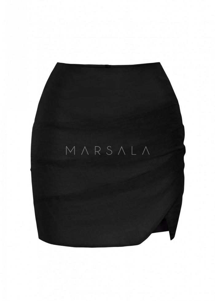 Spódniczka mini w kolorze czarnym z drapowaniem - LORIENT BY MARSALA